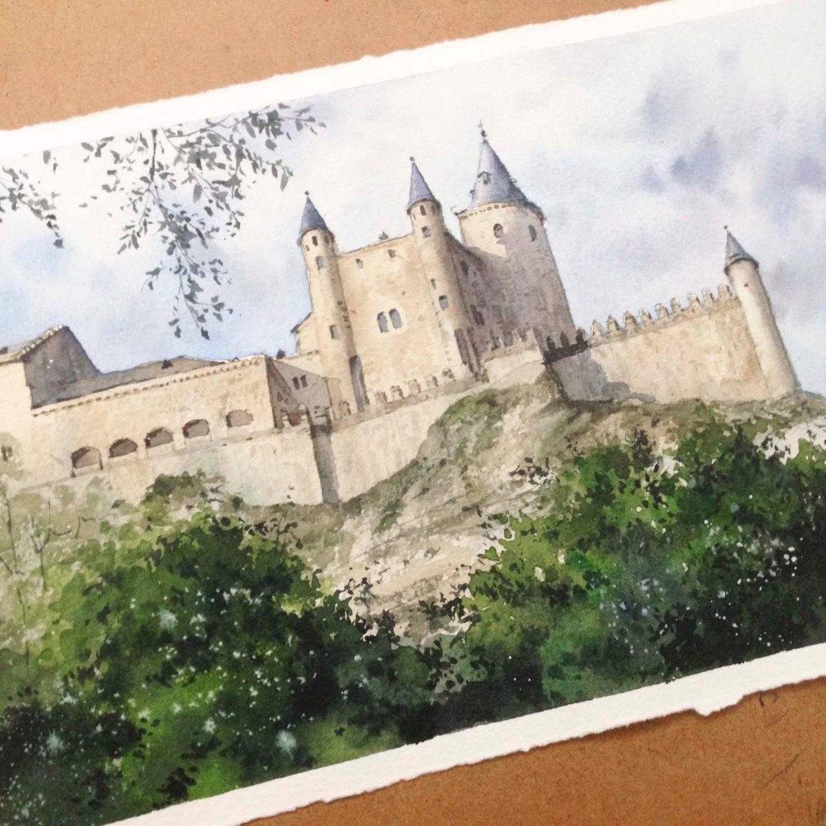 畫賽哥維亞城堡的過程