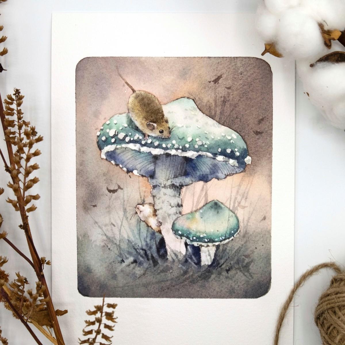 《水彩插畫》蘑菇與小老鼠 / 近期使用的水彩筆